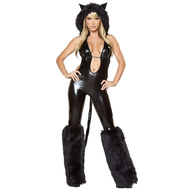 2017 New Sexy Halloween Costume For Women Vinyl Jumpsuit With Hat Role Playing Games -8546