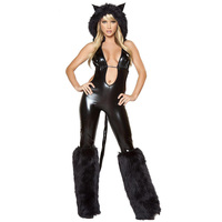 2017 New Sexy Halloween Trang Phục Cho Phụ Nữ Vinyl Jumpsuit Với Hat Role-Playing Games Wolf Cosplay Trang Phục Sexy