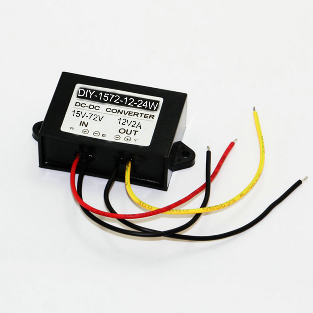 Dc 24v 36v 48v 60v (15v-72v) to 12V 2A 24W DC-DC Converter Step Down Buck Module Power Supply F Electric Storage Battery Car new synthetic baby hair braided lace front wig straight long black women hair wigs 0730