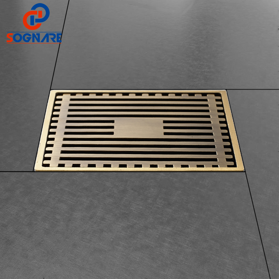 SOGNARE 10cm*10cm Euro Style Antique Brass Deodorant Square Floor Drain Strainer Cover Sink Grate Bathroom Kitchen Shower Drain drains 12 12cm antique brass shower floor drain bathroom deodorant euro square floor drain strainer cover grate waste hj 8702s