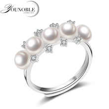 YouNoble Fashion Pearl Jewelry Natural Freshwater AAA Pearl Ring Wedding Rings 925 Sterling Silver Rings For Women Gift цена