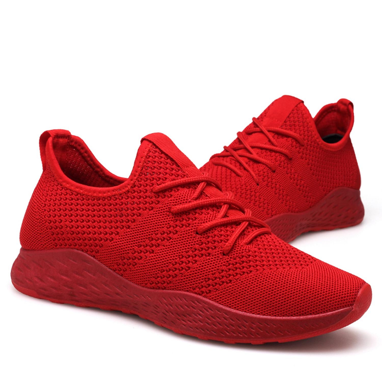 Hombres Adultos Black Zapatos red Up Transpirable Malla gray De assorted Casuales Lace ppxa1