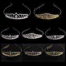 Тиара с кристаллами корона украшения для волос стразы Свадебная