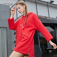 PASS Autumn Casual Women Dress Loose Cotton Letter Print Pocket Style Hoodied Dresses Femme Zipper Long