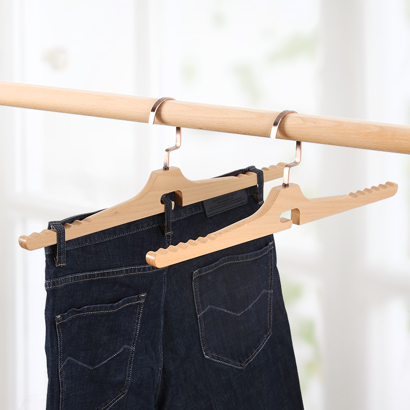 Wooden Clothes Hanger Trousers Rack Clamp Solid Beech Wood Underwear Antiskid Showing Stand for Household Clothes Shop 5pcs