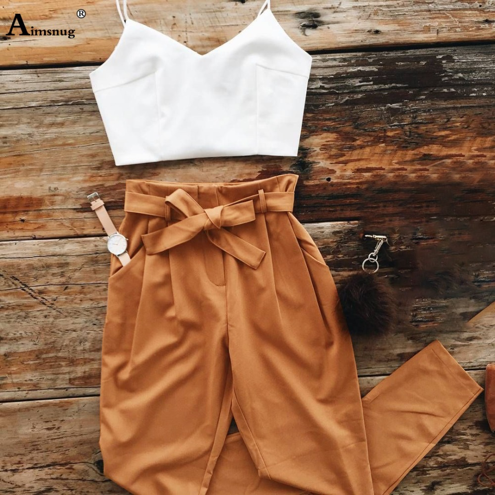 Aimsnug Green Criss-Cross Slim Camis Fitted Crop Tank Top And Long Pants Set Summer Solid Sleeveless Women Two Piece Outfits