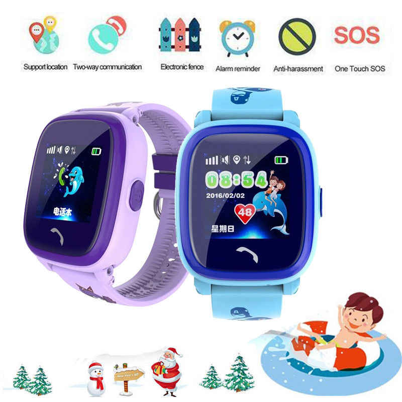 Anti Lost DF25 OLED Child GPS Tracker SOS Smart Monitoring Positioning Device Phone Kids GPS Baby Watch Compatible IOS  Android