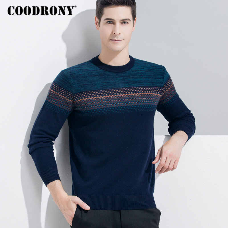COODRONY Men Sweater Cashmere Pullover Men 2018 Winter Christmas Thick Warm Merino Woolen Sweaters Casual O-Neck Pull Homme 8338