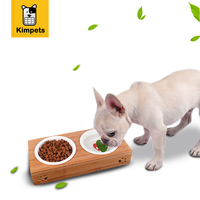 KIMHOME PET Dog Feeders Stainless Steel Dog Bowls Bamboo Rack Ceramic Double Bowl Lovely Pet Food