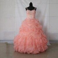 Реальное изображение популярный quinceanera платья персикового цвета платье бальное платье оборками органза Кристаллы бисером сладкое праздни