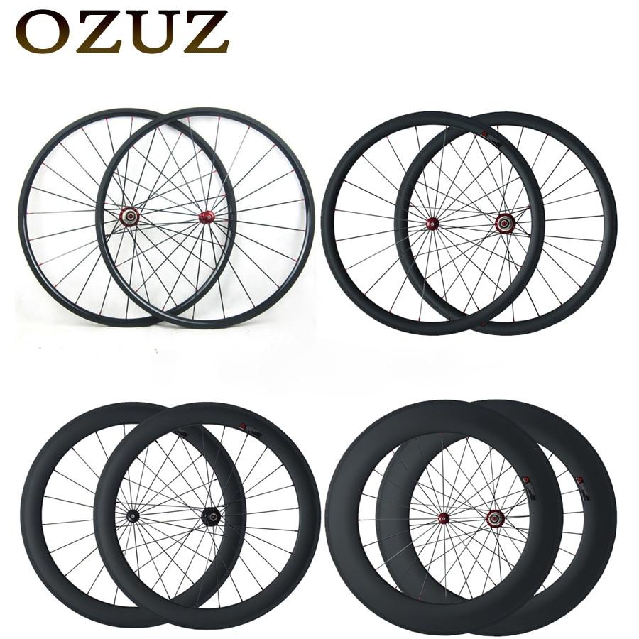 OZUZ Straight Pull Carbon Wheels 24mm 38mm 50mm 60mm 88mm Clincher Tubular Road font b Bike