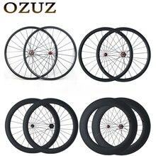 OZUZ Droite Traction de Carbone Roues 24mm 38mm 50mm 60mm 88mm Pneu Tubulaire Vélo De Route Vélo roue Powerway R36 Moyeu de Roues