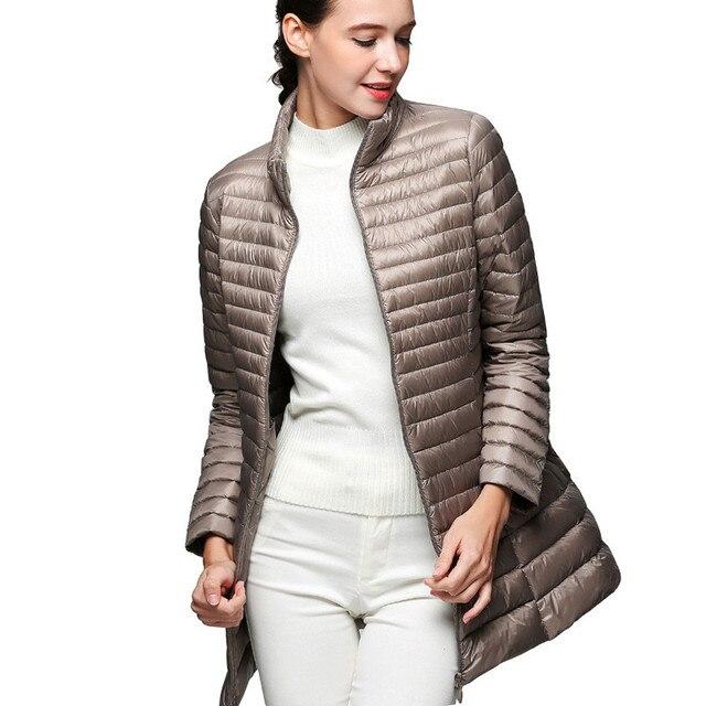 a56658b6bac2e Femme manteau 90% duvet de canard blanc Long veste femme pardessus Ultra  léger mince solide