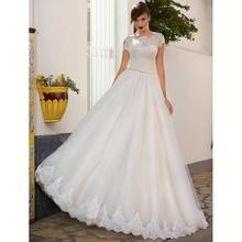 Custom Made Elegant Short Sleeve Wedding Dress Exquisite Lace Top Sexy Backless