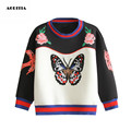 2017 Women Butterfly Floral Embroidery Hoodies O'-neck Sweatshirts Women Hoodies Fashion Tracksuits moleton feminino