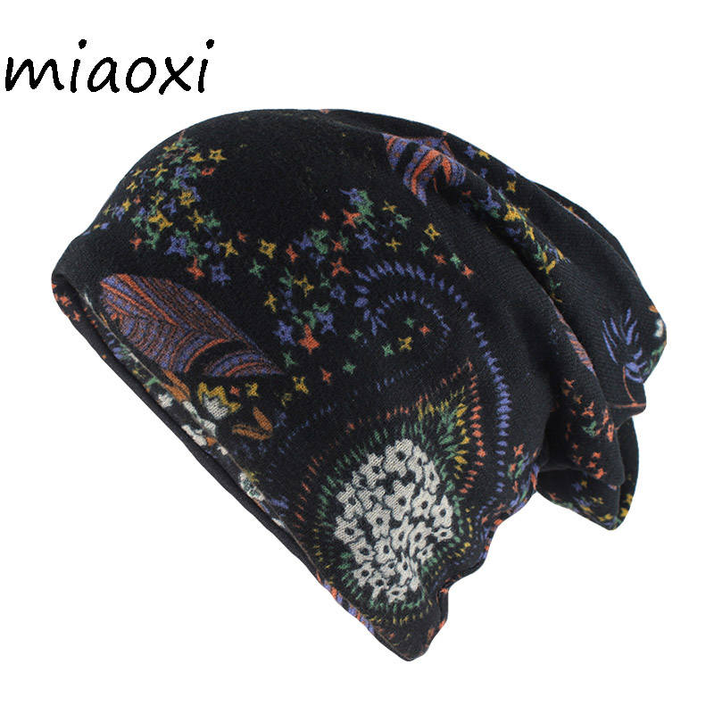 Miaoxi Fashion Hat For Women's Autumn Warm Beanies Skullies Adult Lady Floral Gorros Double Used Hats Scarf High Quality