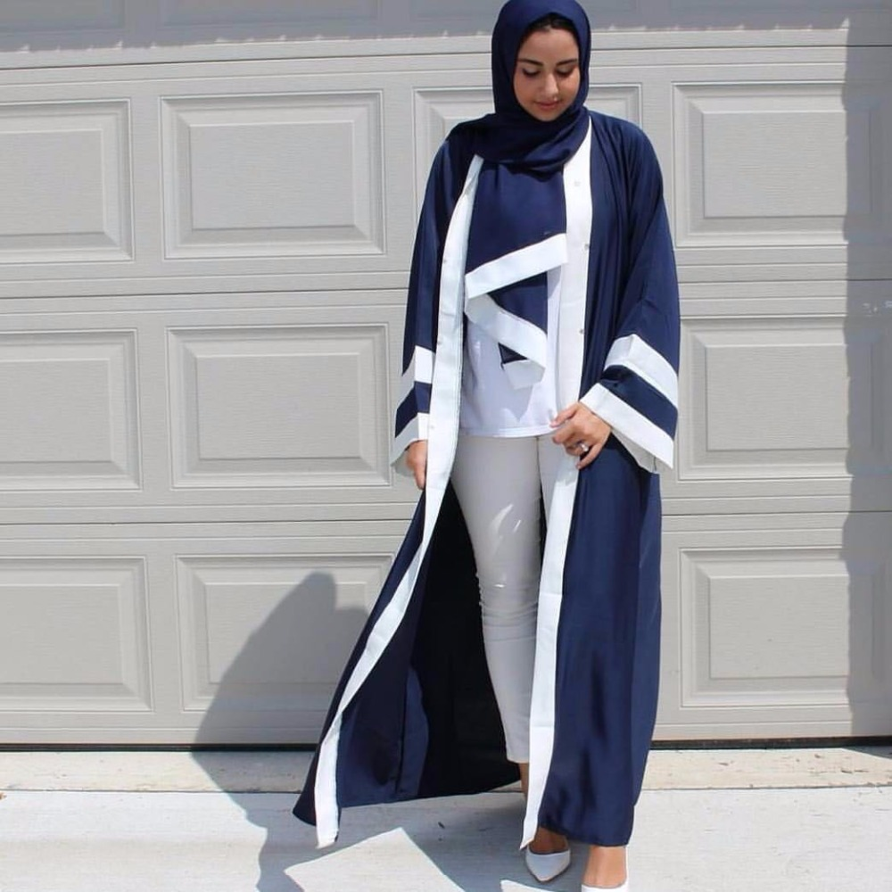Muslimah Adult Fashion Striped Print Musulmane Dubai Muslim Abaya Dress Cardigan Robes Arab Prayer Worship Service Abayas Wj2786
