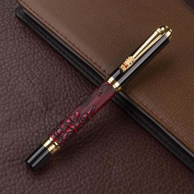 Luxury New brand classic red Leather grape pattern roller ball pen classic pen stationery Hot sell 1