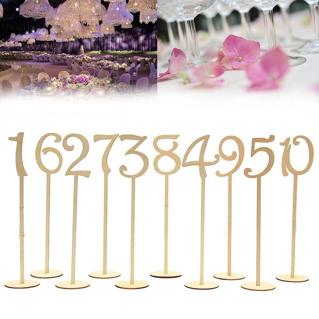 10pcs 1-20 Wooden Table Numbers Holder Base for Rustic Wedding Birthday Party Seat Decoration Place Holder Figure Card Digital