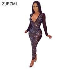Shiny Rhinestones Sexy See Through Dress Women Long Sleeve Mesh Patchwork Party  Dress Elegant Deep V Neck Bandage Maxi Vestidos 2a331142fd3a