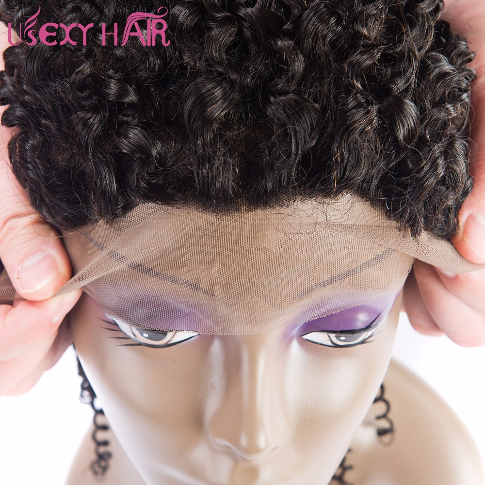 USEXY HAIR 13*4 Ear To Ear Curly Wave Free Part Brazilian Human Hair Lace Frontal Closure With Baby Hair 8-20 Inch Non Remy Hair