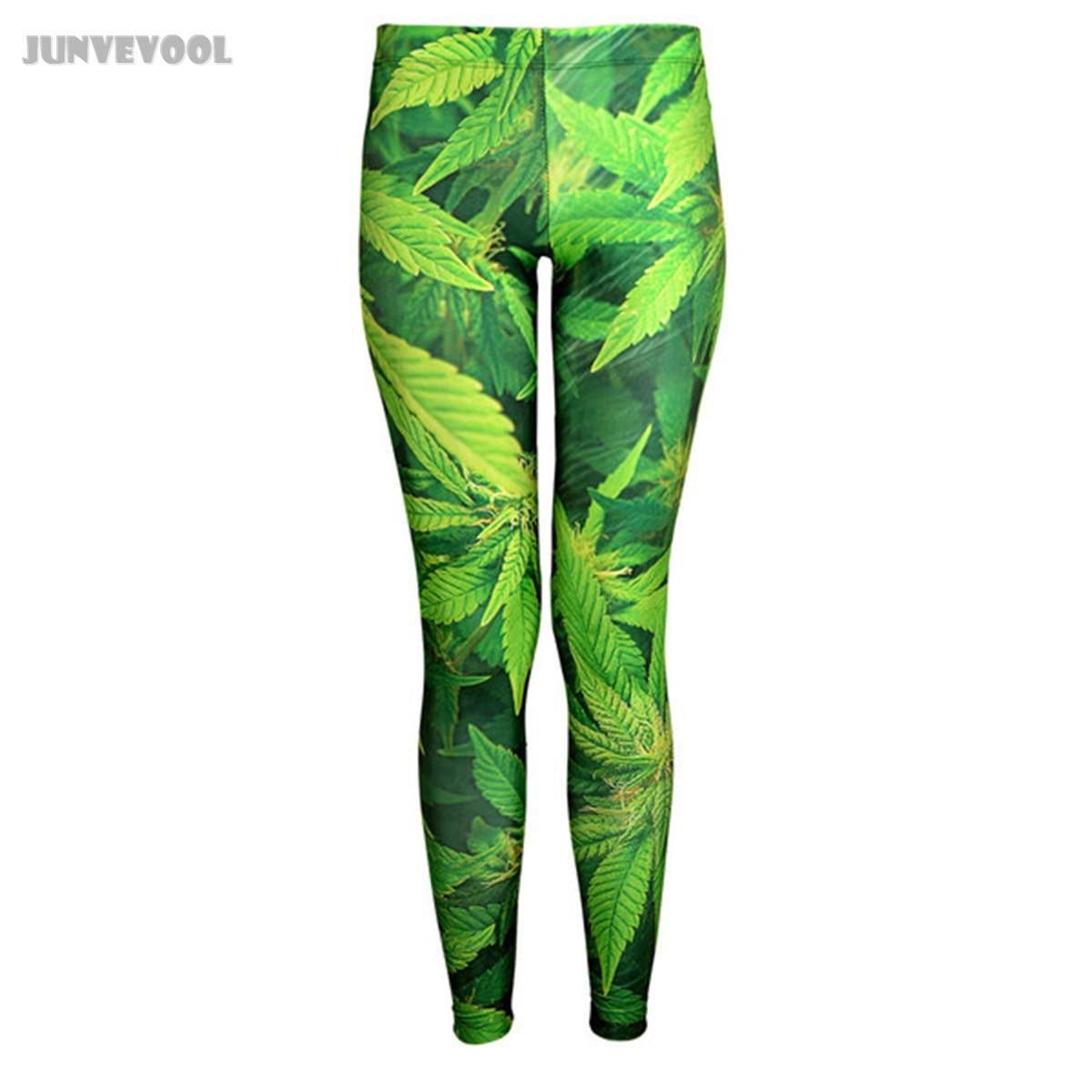 Leaves   Leggings   Plants Green Pants Sexy Ladies Women Digital Print Slender Leaves   Legging   Skinny Pants Seamless Women's Trousers