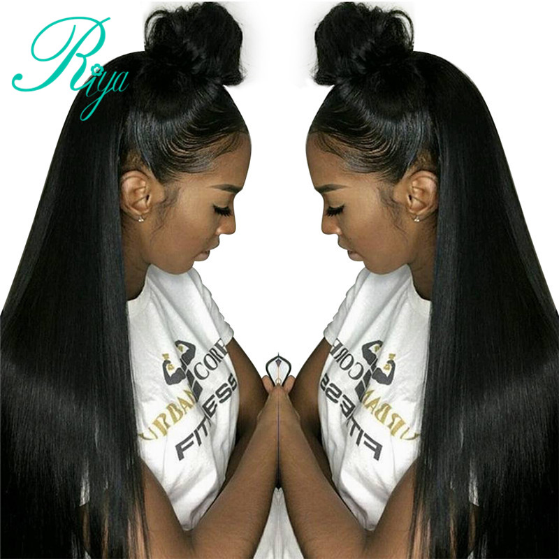 Pre Plucked Lace Front Human Hair Wigs With Baby Hair Bleached Knots Peruvian Straight Hair Wigs