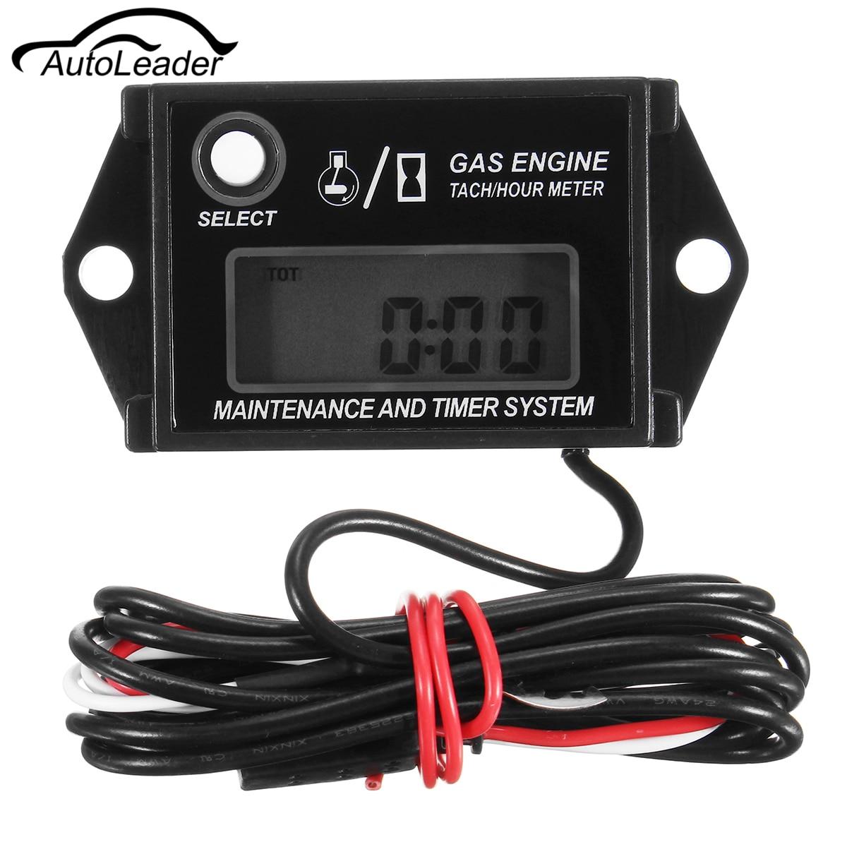 Autoleader Digital Tach Tachometer Hour Meter For Lawnmower ATV Generator Spark Plug Generator Gas Petrol Engine IP68 Waterproof