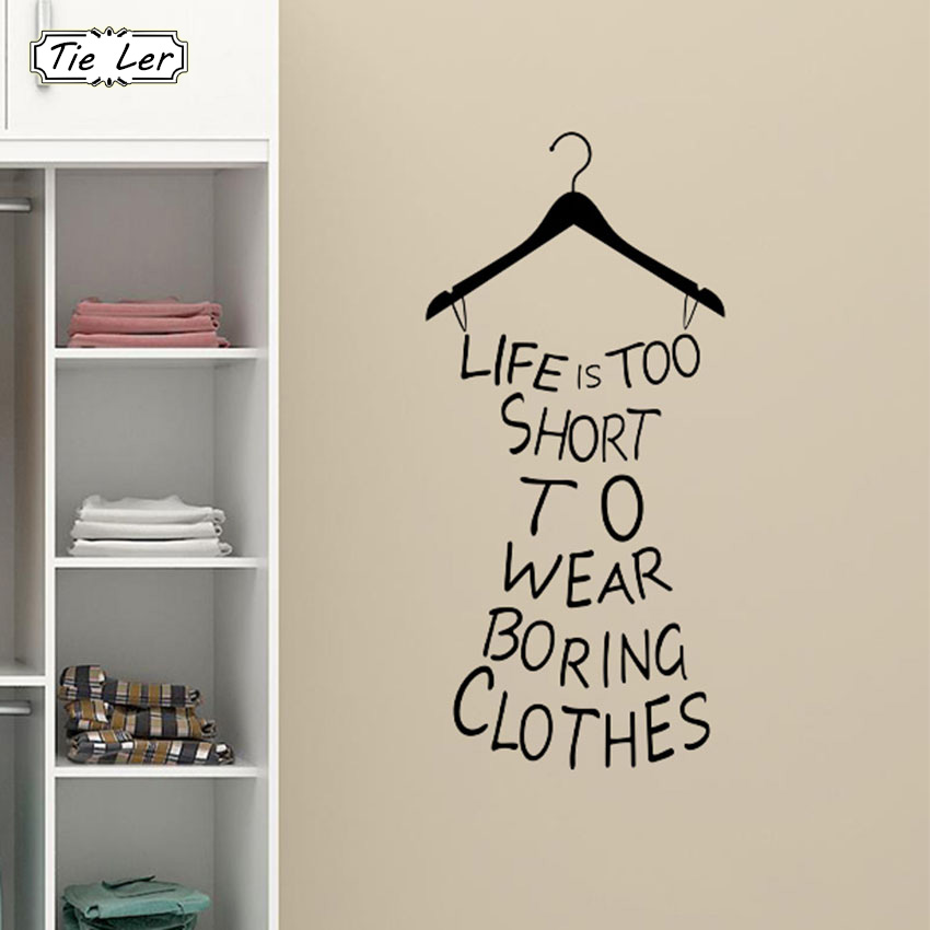 1 PCS PVC Life Is Too Short Fitting Room Wardrobe Home Decorations Mural DIY Clothes Tree Decal Wall Sticker Art Room Posters