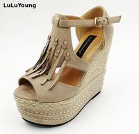 Spring Summer Women Tassel Ultra High Heel Wedges Open Toe Female Sandals Sy 1794