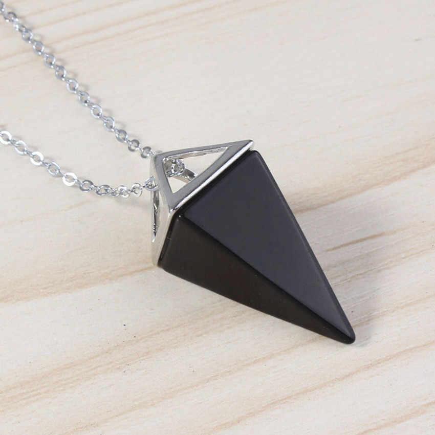 100-ที่ไม่ซ้ำกัน 1 Pcs เงินสีดำ Onyx Quadrangular Pyramid จี้ Amulet ยุโรปสไตล์สร้อยคอ Link Chain แฟชั่นเครื่องประดับ
