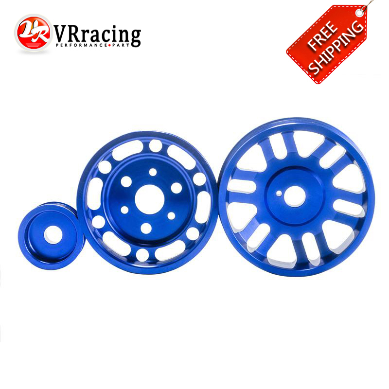 VR RACING - FREE SHIPPING Blue Crank Alternator Water pump Pulley for Toyota GT86 Scion FR-S Subaru BRZ 2012+ VR6858B  free shipping light weight crank pulley new for nissan skyline gtr bnr32 rb26 dett rb20 rb25 underdrive crank pulley yc100829