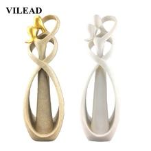 VILEAD 30cm Sandstone Kissing Lover Figurine Anniversary Souvenirs Creative Gift Wedding Decoration Home Accessories