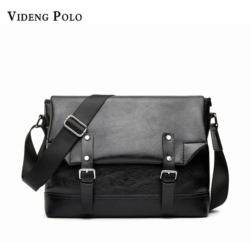 VIDENG POLO 2017 NEW PU Leather Messenger Bag Black vintga Men s Bags For Men Casual