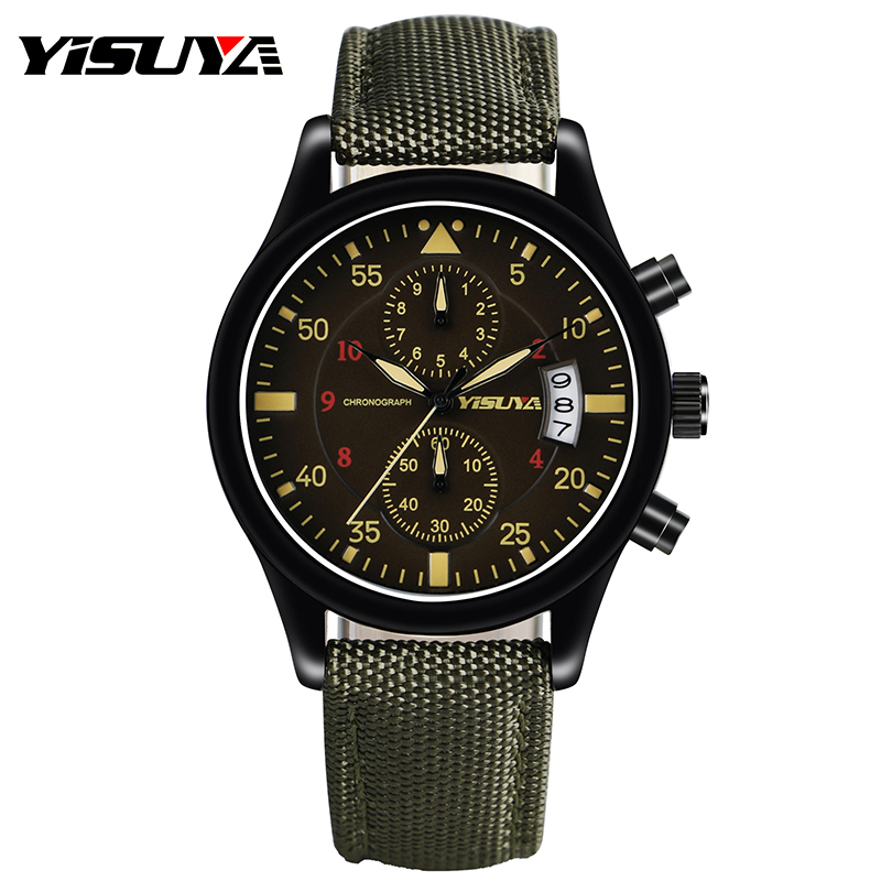 Army Green Nylon Leather Strap Band Aviator Men Wrist Watch Chronograph Business Analog Day Date Aviator Round Dial