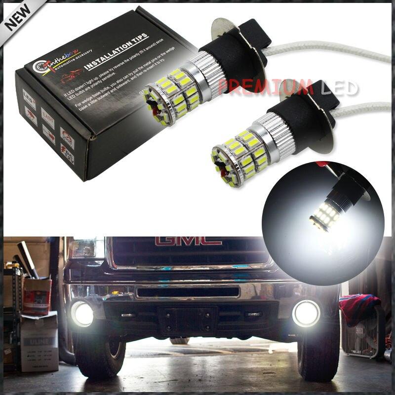 2 pcs 6000 K Degrés Éclairante 36-SMD H3 LED Ampoules De Rechange Pour Voiture Brouillard Lumières, Feux de jour, DRL Lampes