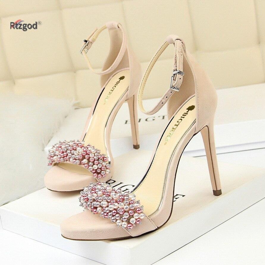 2019 été Sexy Banquet chaussures pour femmes talon fin Super haut talon imperméable Table daim perle strass mot bande sandales