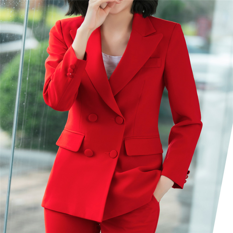2019 Office Work Blazer High Quality Set Red Pink Blue Jacket Pants Two Piece Set 3xl