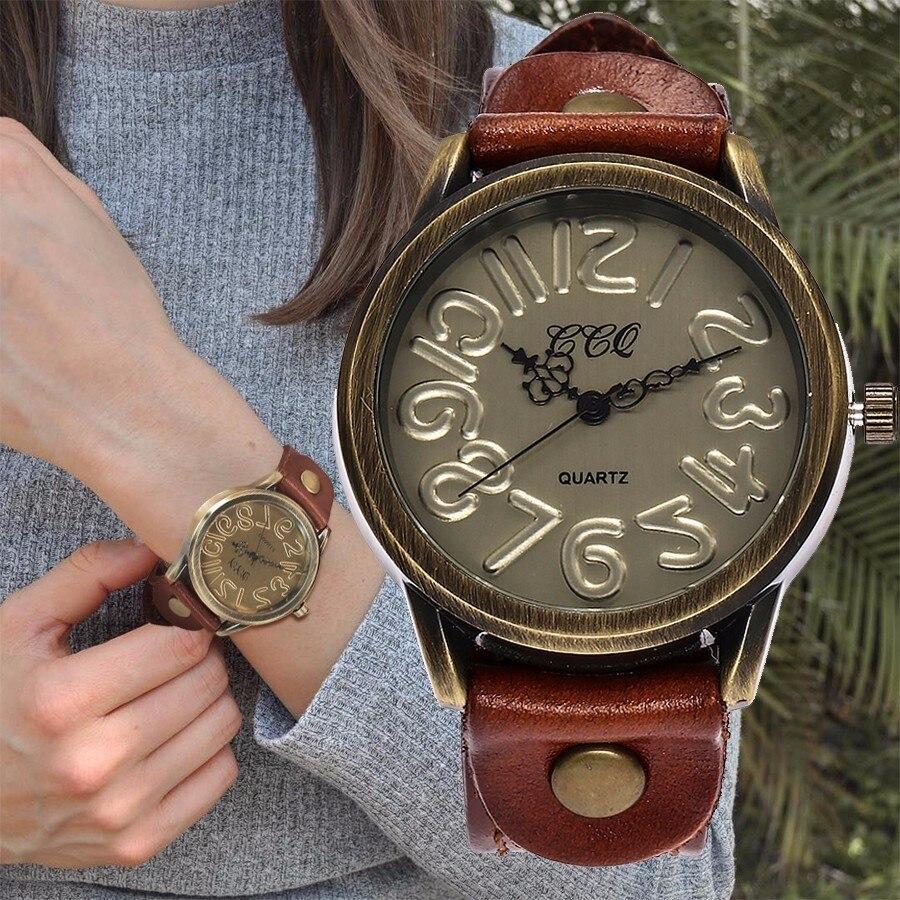 Women Vintage Genuine Leather Strap Wristwatches Antique Bronze Quartz Watch Unique Clock Gift Relogio Feminino CCQ Brand цена в Москве и Питере