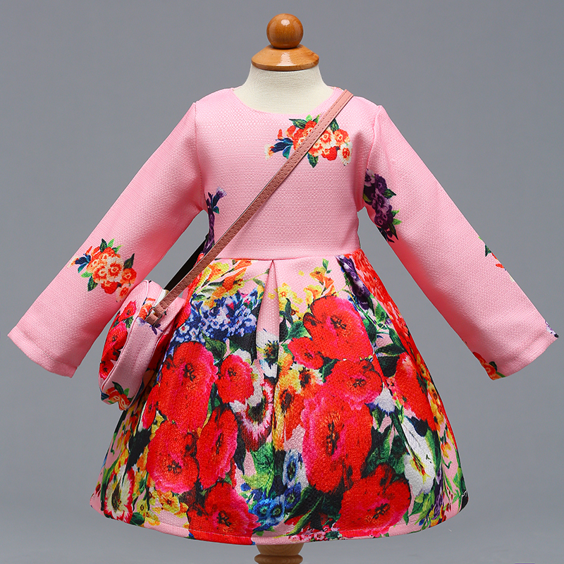 Retail Elegant Little Girls Floral Long Sleeves Party Dress With Bag Print Frock Autumn Spring Dress L-392 retail 2018 spring autumn new girls