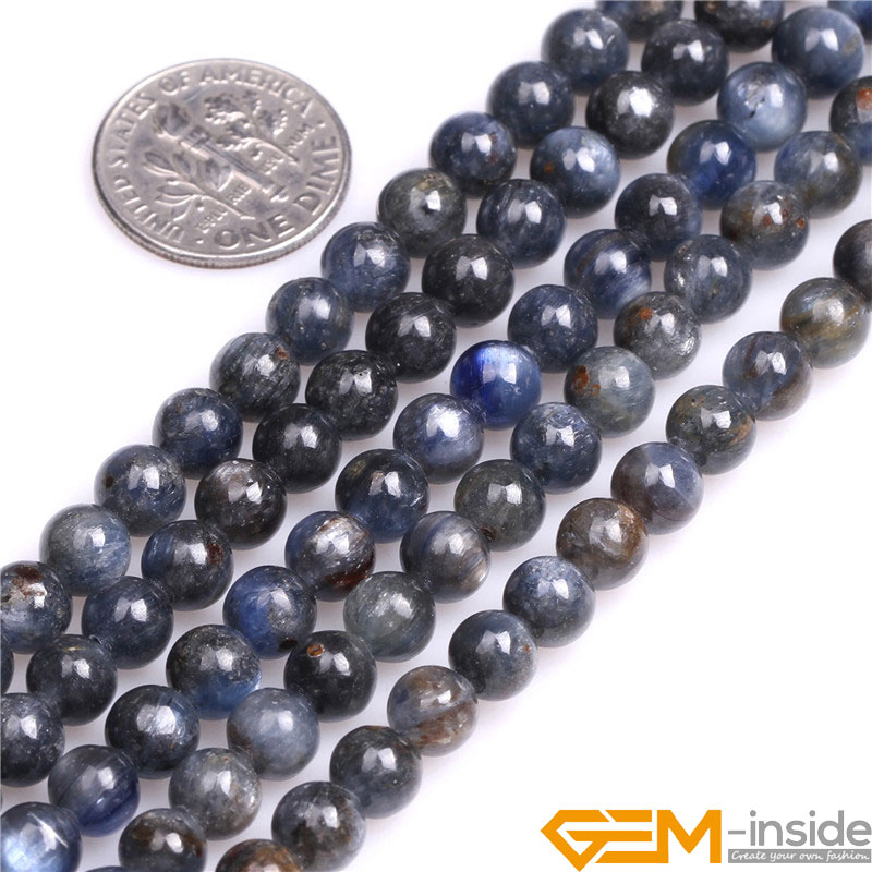 Kyanite: Round Natural Kyanite Beads Natural Stone Beads DIY Beads For Bracelet Or Necklace Making Strand 15
