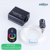16 Watt RGB touch remote LED faseroptik-licht Sterne Decke Kit Lichter 300 stücke 0,75mm 2 Mt optische faser beleuchtung + kristall