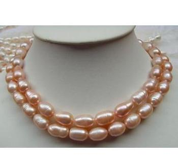 Elegant 11-13mm natural south sea pink pearl necklace 35 inch free shipping