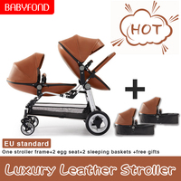Babyfond leather high quality Egg shell high landscape Twin Baby stroller Double baby Folding Pram free shipping two bassinets