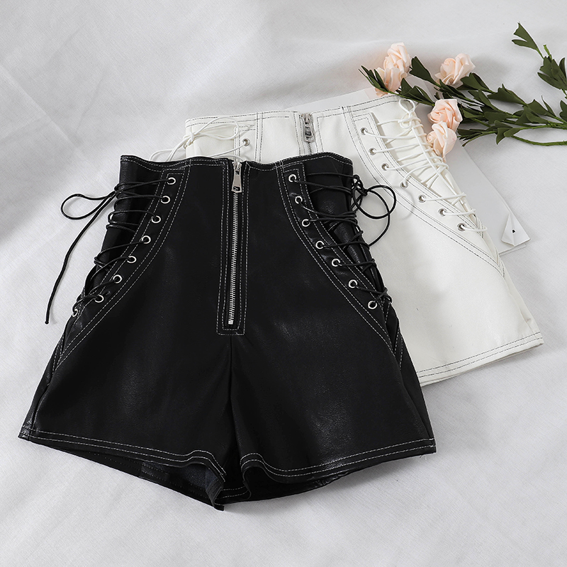 Anself Autumn Winter Sexy Women Faux PU   Shorts   Lace-Up Bandage High Waist Fake Leather   Short   Solid Slim Hot   Short   Feminino