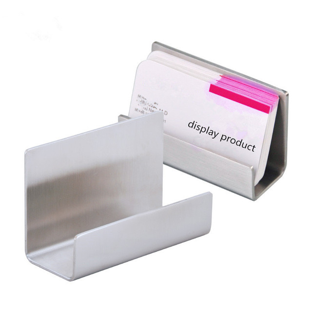 free shipping matte stainless steel desktop name card display holder business card stand - Business Card Stand