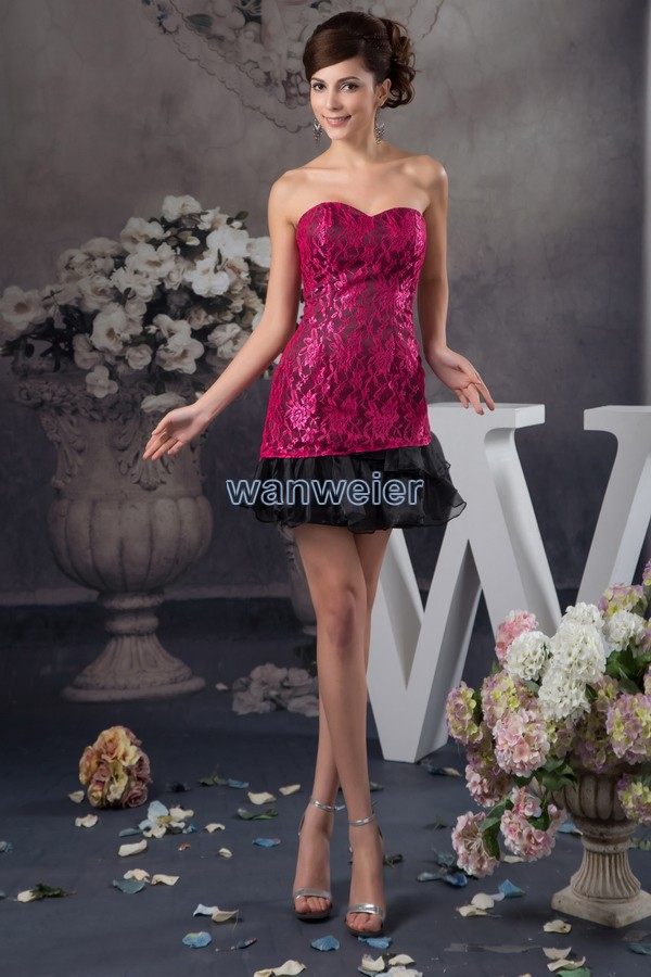 Free Shipping 2015 New Design Sweetheart Formal Winter Mini Custom Size/color Special Occasion Lace Cocktail Party Dresses