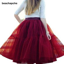 5 Layers Midi Women Skirt Tulle Skirts Adult Tutu Femininas Fashion Party Design  formal Skirts