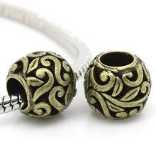 Европейский стиль очаровательные медные бусины Круглые античная бронза узор около 12 мм диаметр, отверстие: около 5,8 мм, 1 шт