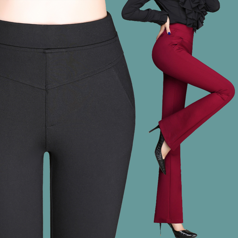 Women Pants Cotton Full Lenght Solid Button Fly Formal Pencil Pants Female High Waist Skinny ...